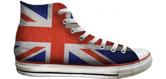 Union Jack Converse High Tops Ladies Mens Custom UK Flag British Print w/ Swarovski Crystal Rhinestones Chuck Taylor All Star Sneakers Shoes