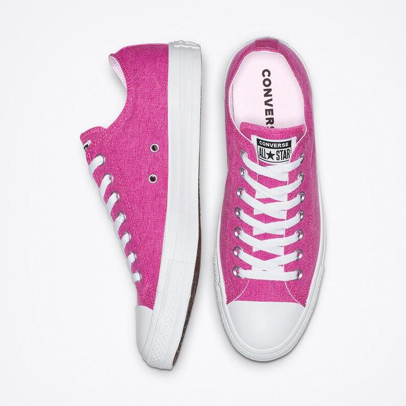 cadb4bfe41c Fuchsia Hot Pink Converse Low Stonewashed Silver Custom w/ Swarovski  Crystal Rhinestone Bling Chuck Taylor All Star Wedding Sneakers Shoes