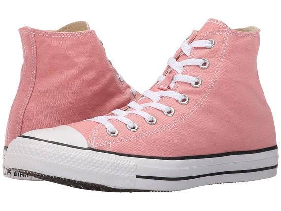 Pink Converse High Top Daybreak Blush Rose W US 8.5 Wedding Bride Custom Canvas w/ Swarovski  Crystal Chuck Taylor All Star Sneakers Shoes