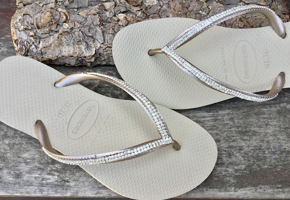 Custom Havaianas Slim Flip Flops sew on Silver Cup Chain Mesh Crystal Clear gem 2 row Bling Rhinestone Jewels Beach Thong Wedding Shoes
