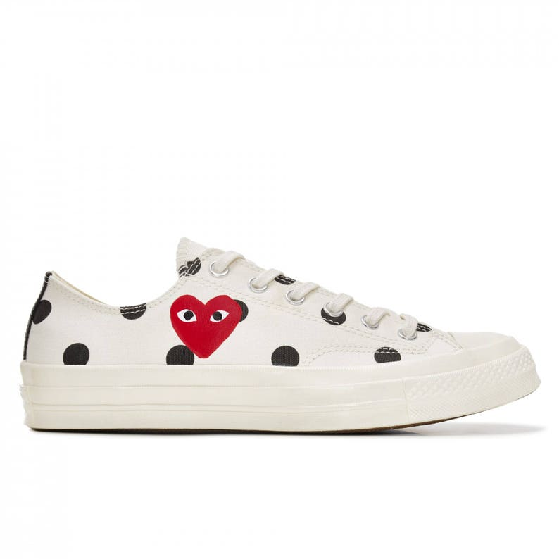 ff9291b253ce Ivory White Converse Peek a Boo Red Heart Low Top Dot Ladies