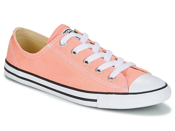 Coral Pink Converse Dainty Wedding Peach Apricot Orange Slip ons w/ Swarovski Crystal Rhinestone Jewels Chuck Taylor All Star Sneakers Shoes