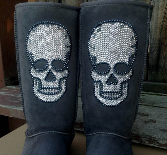 Crystal Skull design w/ Swarovski Rhinestones Handcrafted Custom Bling Tall UGG Boots Image by Glass Slippers Rhinestone Ladies Winter Boots