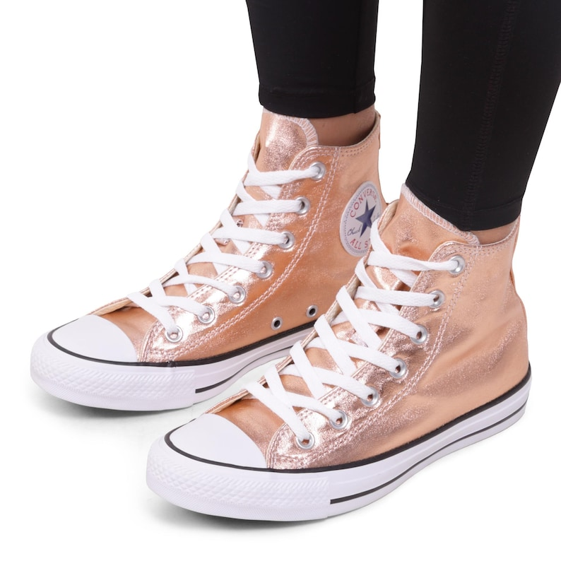 Rose Gold Converse Copper High Top Blush Metallic w  Swarovski  92286232eb28