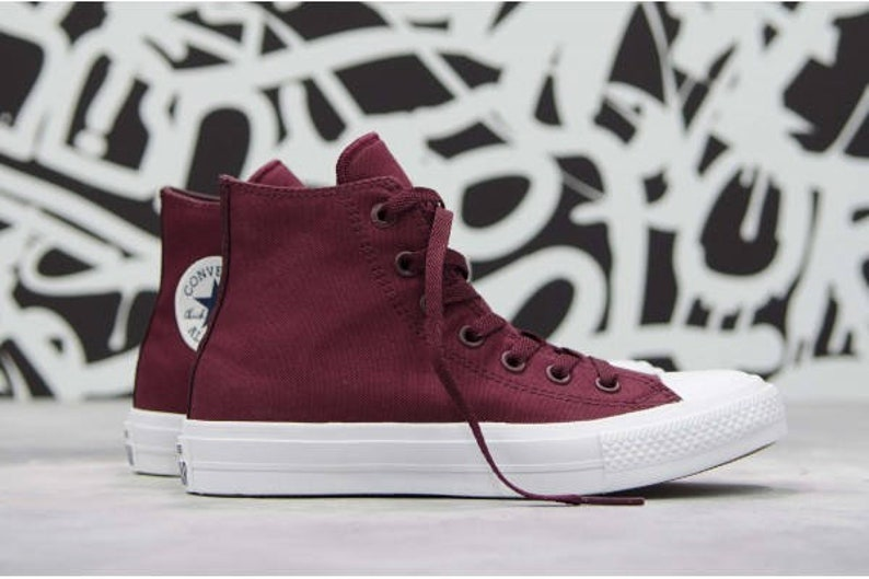 1aec190895e3 Burgundy Maroon Converse Chuck Taylor II High Top Mens Ladies