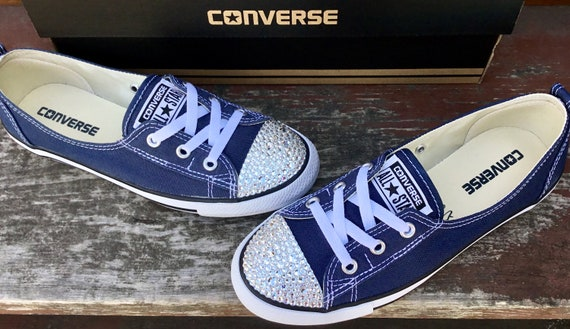 Blue Converse Slip on Navy Ballet Low flat Wedding Lace Bridal flats w/ Swarovski Crystal Chuck Taylor Rhinestones All Star Sneakers Shoes