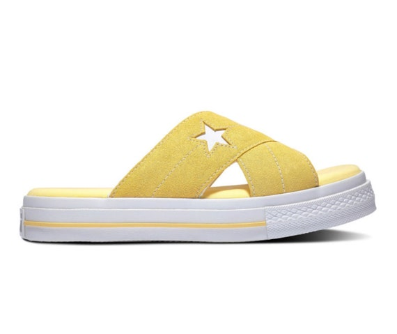 ee7b7759a9a4c Items similar to Yellow Converse White One Star Slide slip on Beach ...