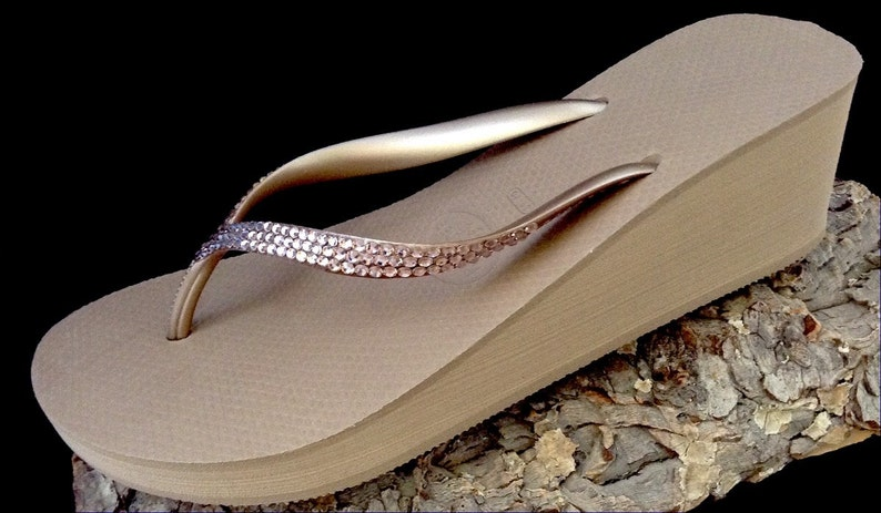 41bf4996b Custom Wedge Crystal Flip Flops Rose Gold Havaianas Rhinestone