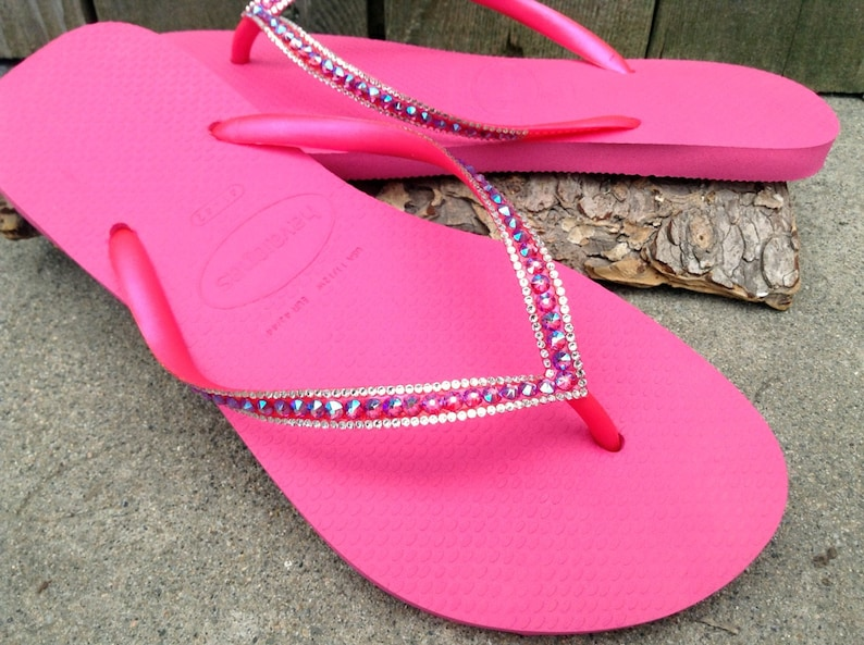 e66f0572e Fuchsia Hot Pink Crystal Flip Flops Havaianas Slim Shimmer