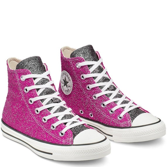 Pink Sparkle Converse Black Silver Glitter High Top Metallic Chuck Taylor Custom w/ Swarovski Crystal Rhinestone Bling All Star Sneaker Shoe