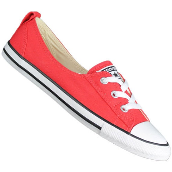 Red Converse Slip on Low Top Brake Light Rouge Ballet flat Wedding Reception w/ Swarovski Crystal Chuck Taylor All Star Bridal Sneakers Shoe