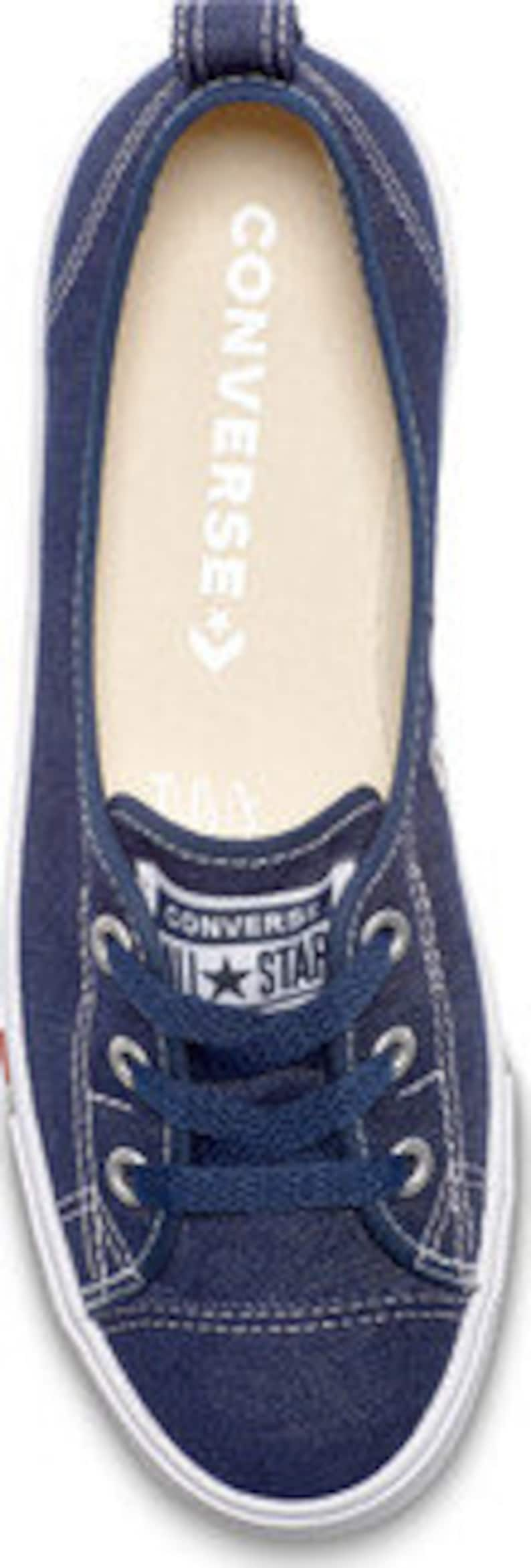 Navy Blue Indigo Converse Love Heart Slip on Ballet Lace | Etsy