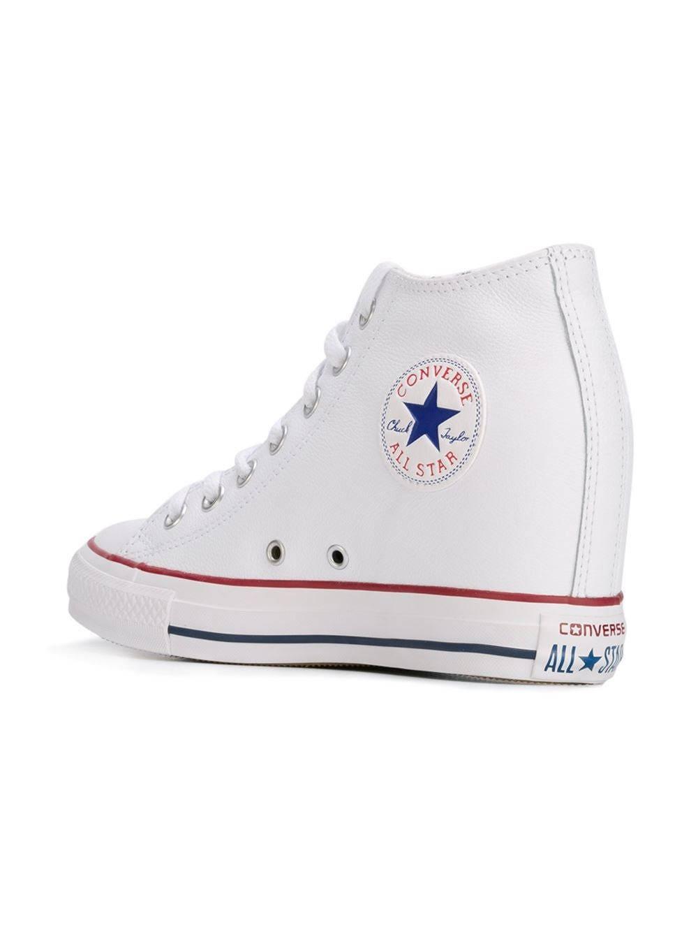 cbfd139be0b White Converse US W 9.5 Canvas High Rise Lux Hidden Wedge Heel RARE ...