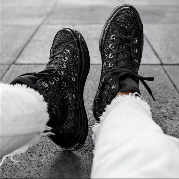 Black Converse High W 8.5 After Party Mono Glitter Boots Club Kicks Custom w/ Swarovski Crystal Rhinestone Chucks All Star Sneakers Shoes