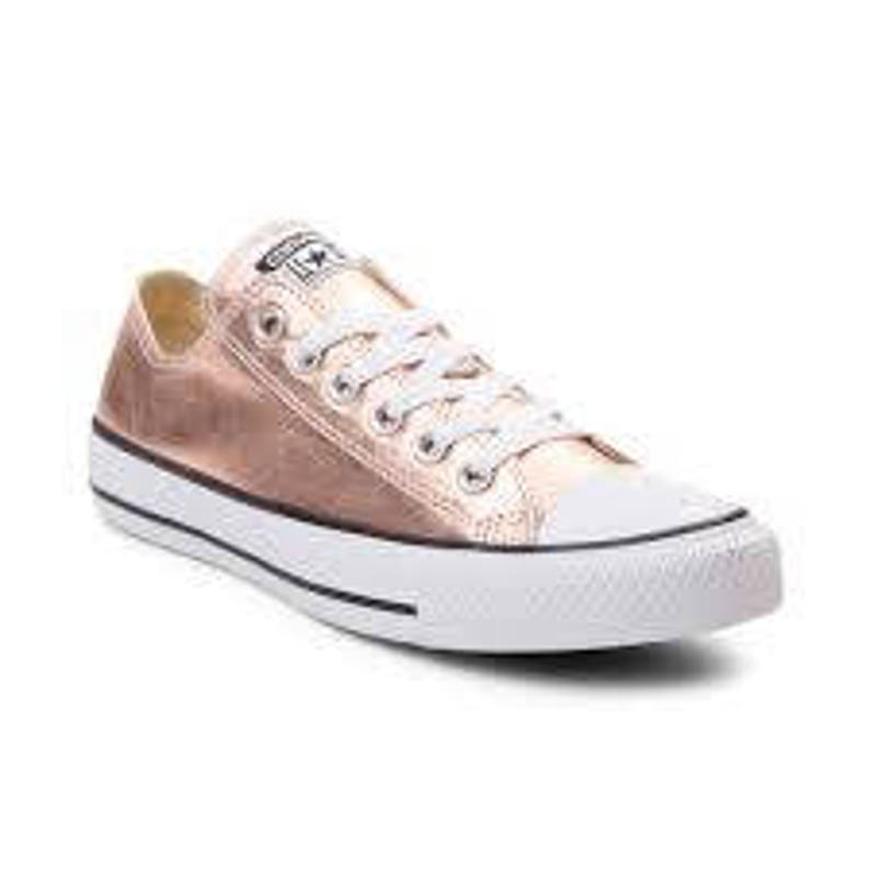 Rose Gold Converse Low Top Blush Pink Copper Metallic w/ Swarovski Crystal Wedding Chuck Taylor Rhinestone Bling All Star Sneakers Shoes