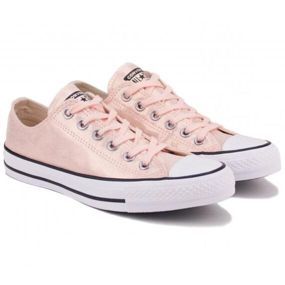 Light Pink Converse Blush Rose Twilight Glitter Low Top Custom Bride Sneaker w/ Swarovski Crystal Rhinestone Jewel Bridal Kicks Wedding Shoe