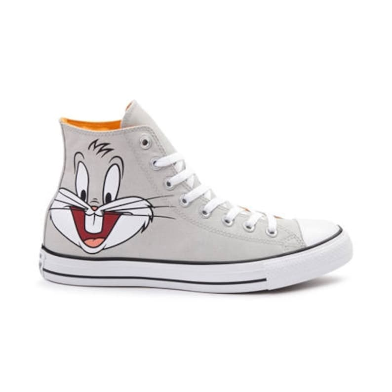 805276a7a7bce Looney Tunes Converse High Top Bugs Bunny Cartoon Gray Custom w/ Swarovski  Crystal Rhinestone Jewel Chuck Taylor All Star Sneakers Shoes