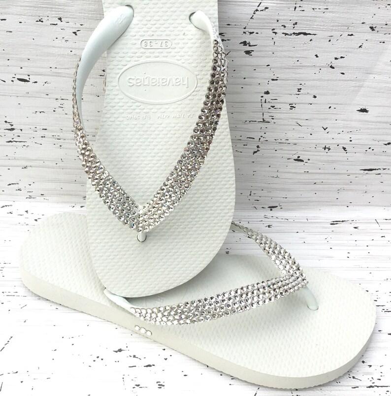 083a8ed90d9ead White Crystal Flip Flops Custom solid shade w  Swarovski