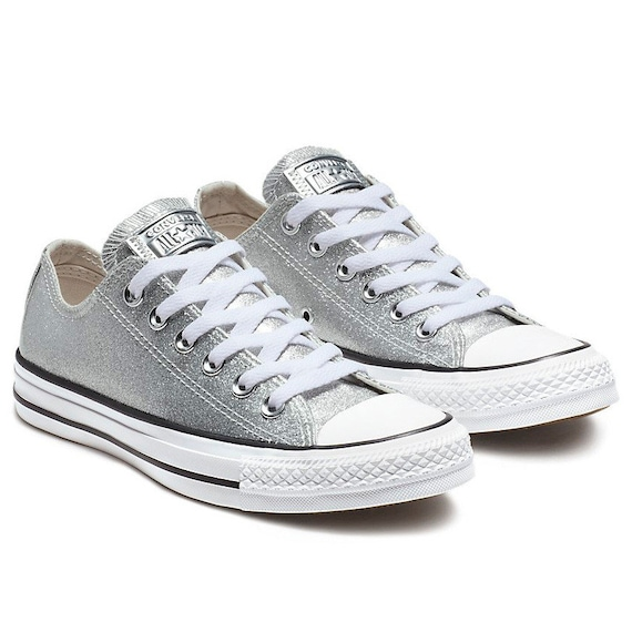Sparkle Silver Converse Glitter Low Top Gray Metallic Chuck  31aed7166a5e