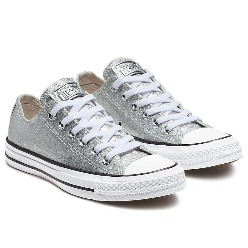 08ef2c27cb76 Sparkle Silver Converse Glitter Low Top Gray Metallic Chuck