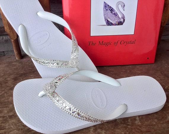 White Wedding Flip Flops Glass Slippers Blushing Bride w/ Swarovski Crystal Rhinestone Bead Beach Bling Havaianas or Cariris Wedge Heel Shoe