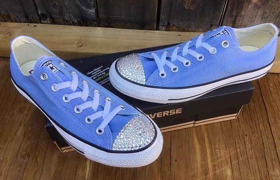 Blue Converse Low Top Periwinkle Robins Egg Bridal Custom Bling w/ Swarovski Crystal Rhinestone Chuck Taylor All Star Wedding Sneakers Shoes