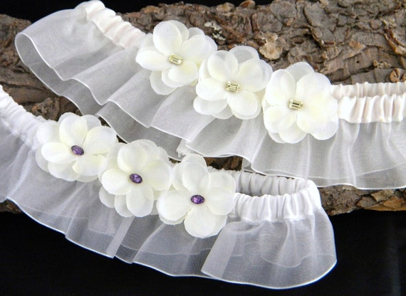 GlassSlippers Hydrangea Bridal Garter w/ Vintage Swarovski Crystal fancy stones Something Old Something New White or Ivory Wedding Belt Toss