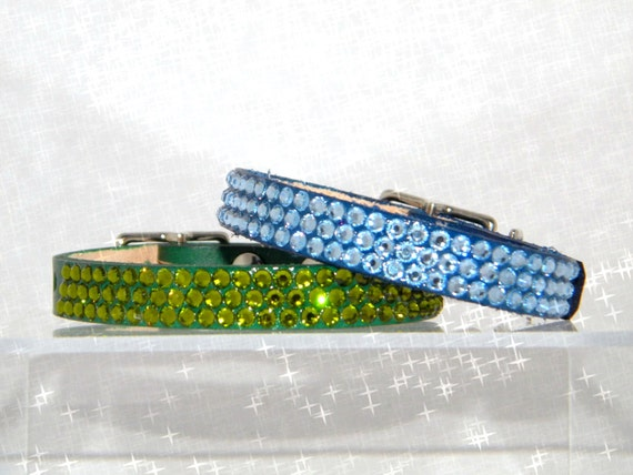 "Leather Custom Pet Collar 10-12"" w/Swarovski Bling Jewels +80 Crystal Color choice Breakaway Safety Style Cat Small Dog Bling jewelry gift"
