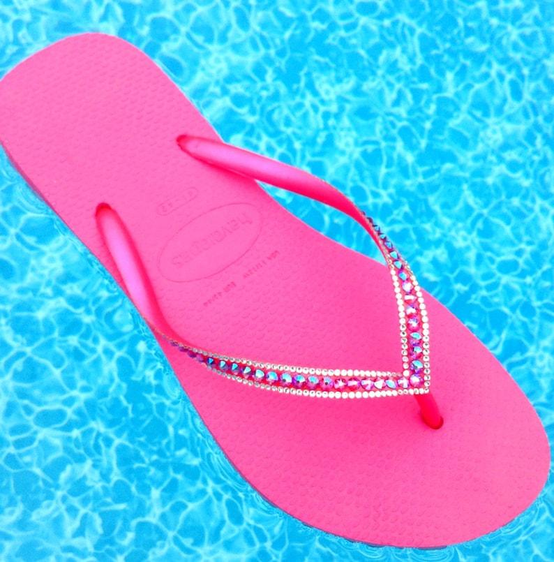 7d00e99f4b8ef2 Fuchsia Hot Pink Crystal Flip Flops Havaianas Slim Shimmer