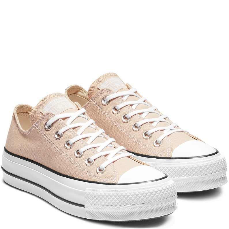 ce881044c8d7 Peach Beige Converse Platform Heel Ivory Lift Canvas Low Top