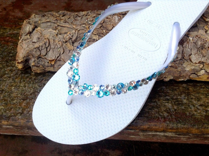 e4b81b29b00c7 White Blue Aqua Crystal Flip Flops Havaianas Slim Custom w/ Swarovski  Crystal Rhinestone Sea Glass Slippers Beach Wedding Jewel Bridal shoes