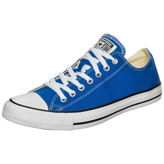 Royal Blue Converse Low Top Crystal Bling Ocean Sea Wedding Mens Ladies Shoes w/ Swarovski Rhinestones Chuck Taylor All Star Bride Sneakers