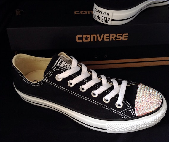 0cff81ac0611 Black Converse Low Top Personalized Canvas Bling Chuck Taylor
