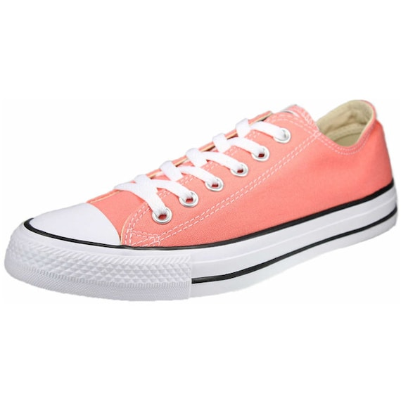 Coral Pink Converse Low Top Peach Sun Blush Apricot Melon Custom w/ Swarovski Crystal Chuck Taylor All Star Bridal Wedding Sneakers Shoes