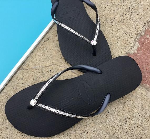 Havaianas Slim Flip Flops w/ Swarovski Bling Crystal Full Moon Rhinestone Bling sandal Bridal Wedding Custom Glass Slippers Beach Thong Shoe