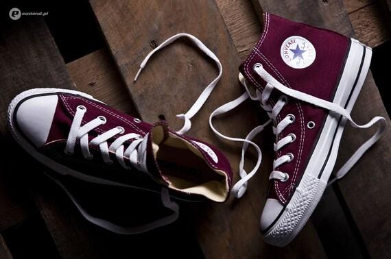 Burgundy Converse High Top Mens Maroon Kicks Custom w/ Swarovski Crystal Bling Wine Red Chuck Taylor All Star Groom Wedding Sneakers Shoes