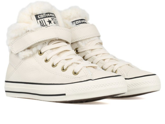 White Converse Fur Leather High Tops Boots Wool US 8 Winter Cream Ivory w/ Swarovski Crystal Rhinestone Chuck Taylor All Star Sneakers Shoes