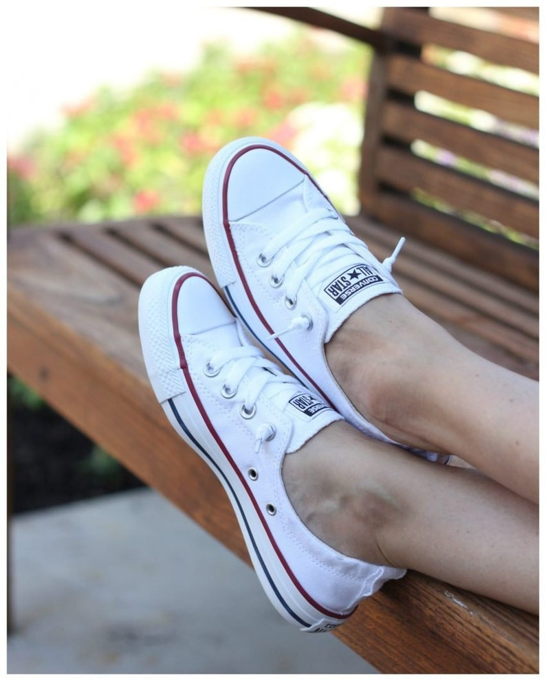 a898f27ecb50 White Converse Slip on Shoreline Ladies Custom Kicks w