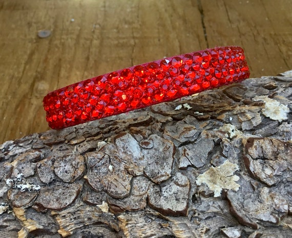 """Red Leather Pet Collar 10-12"""" Super Bling Cherry Custom Exclusive 3D Iced w/ Swarovski Crystal Rhinestone Cat Small Dog or Breakaway Safety"""