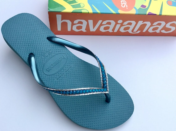 Blue Teal Havaianas Slim Flip Flops Azure Mineral Turquoise Sea Ocean Custom w/ Swarovski Rhinestone Jewel Beach Bridal Wedding Bling Shoes