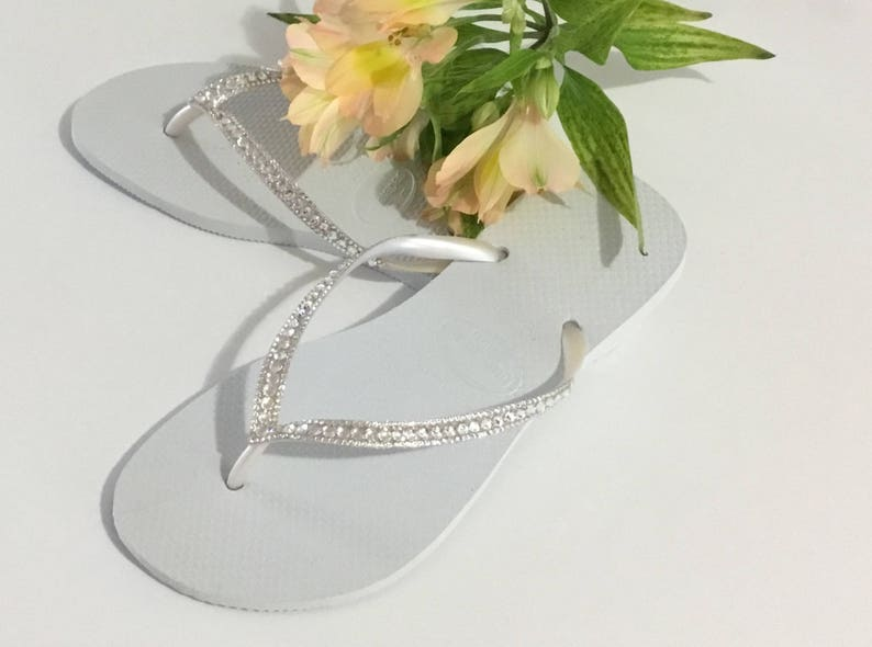 4f891da2b7a0 White Havaianas Slim Crystal Wedding flip flops Silver ocean sea Custom  Bridal w  Swarovski Bling Dynamite Rhinestone Beach Thong Shoes