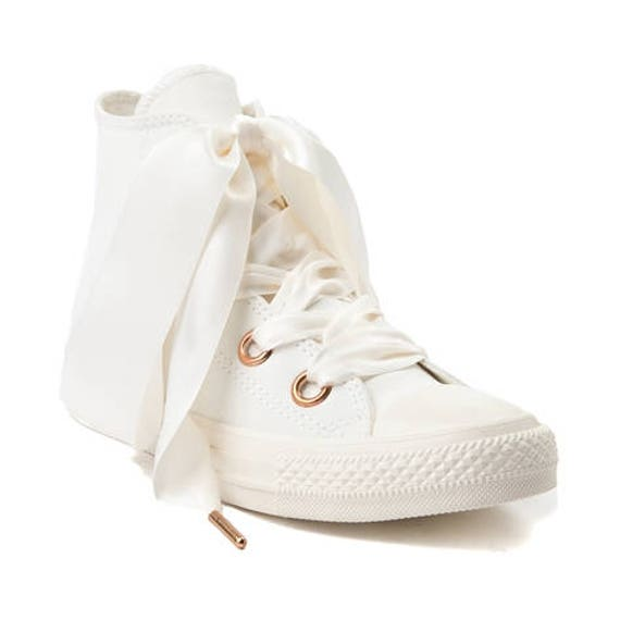 Ivory Cream Converse High Tops Brush Leather Rose Gold Satin Ribbon Chuck  Taylor w/ Swarovski Crystal All Star Bride Wedding Sneakers Shoes