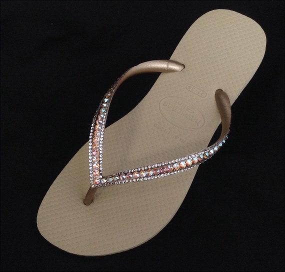 13800121b1ba09 Gold Havaianas Slim Flip Flops Sand Gray Golden Beige Tan Silk