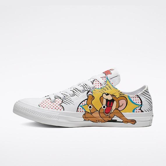 Tom & Jerry Mens 11 Converse Low Top Canvas Retro Cartoon w/ Swarovski Crystal Rhinestone Jewel Chuck Taylor Bling All Star Sneakers Shoes