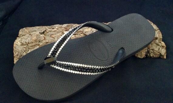 Black Crystal Flip Flops Custom Vintage Baguette Jewel Havaianas flat or Cariris Wedge heels Platform w/ Swarovski Rhinestones Sandals Shoes