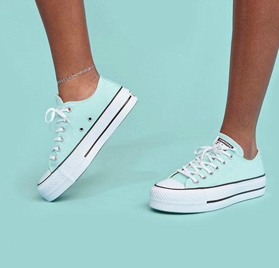 Mint Green Sea foam Blue Converse Platform lift wedge Canvas Low Club w/ Swarovski Crystal Rhinestone Chuck All Star Wedding Sneakers Shoes