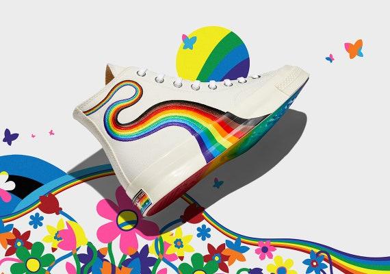 Converse Pride 2021 High Top 70 Gay LGBTQ Parade Mens Rainbow Inclusive Collector Chucks Taylor w/ Swarovski Crystal All Star Sneakers Shoes