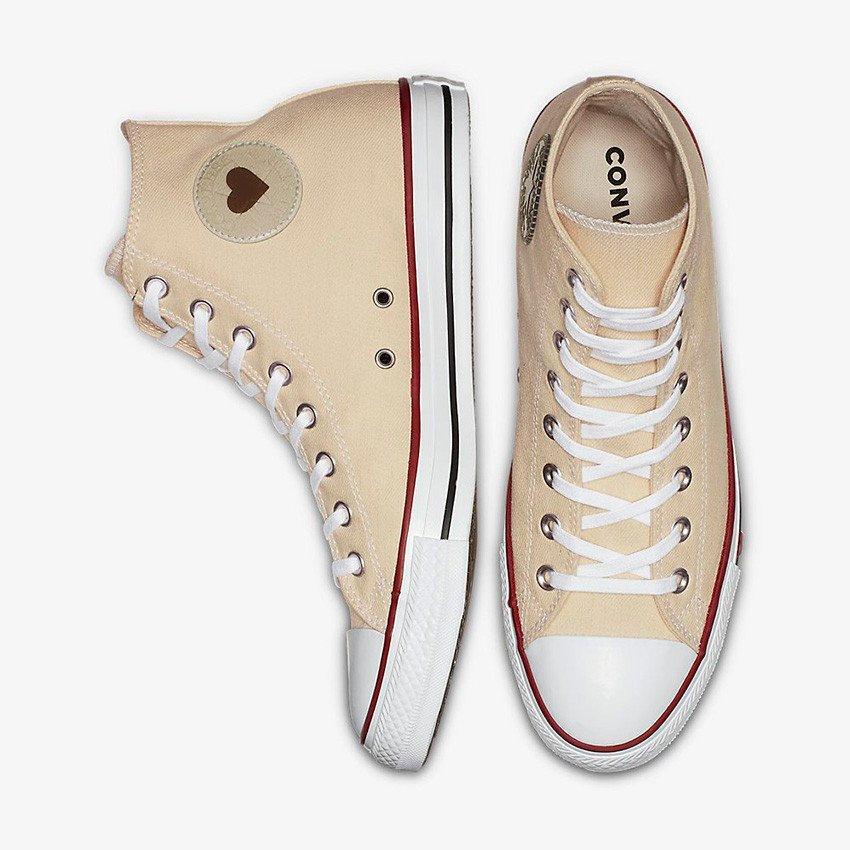 ec489eca1761 White Sand Ivory Converse High Top Love Heart Bride Custom w  Swarovski  Crystal Chuck Taylor Rhinestone Bling All Star Wedding Sneakers Shoe