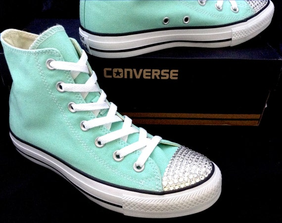 Mint Green Converse High Top Pistachio Peppermint Seafoam Beach Glass w/ Swarovski Crystal Chuck Taylor All Star Wedding Sneakers Shoes