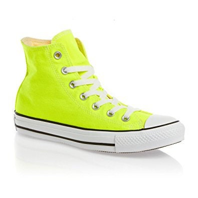 Yellow Converse High Top Electric Neon Lemon Bright Bling Canvas w   Swarovski Crystal Rhinestone Chuck Taylor All Star Bride Sneakers Shoes 683446b4655a